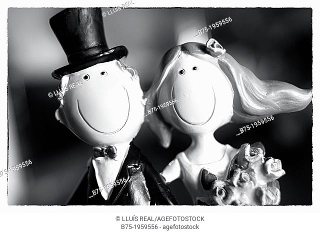 Closeup of bride and groom