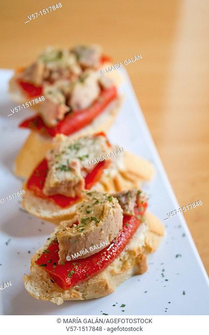 Spanish tapa: Tuna and red pepper. Spain