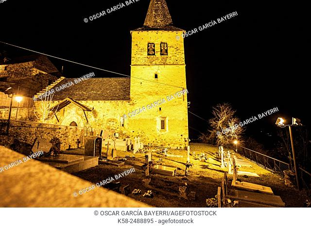 Romanesque church of Sant Andreu, Casau, Vall d'Aran, Lleida province, Catalonia, Spain