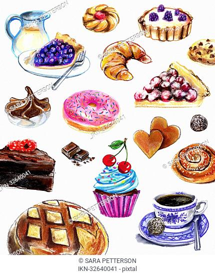 Variation of pastries and sweets