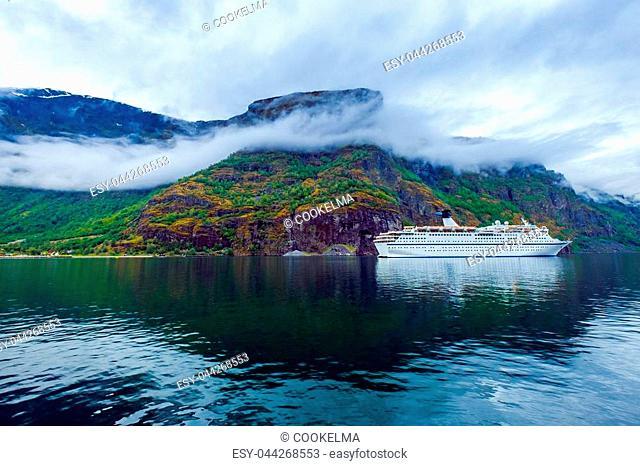 Cruise Ship, Cruise Liners On Hardanger fjorden, Beautiful Nature Norway