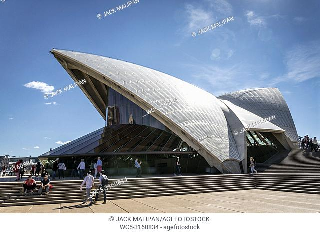 exterior architecture detail of famous sydney opera house landmark in australia by day