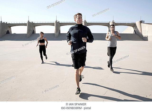 Athletes jogging, Van Nuys, California, USA