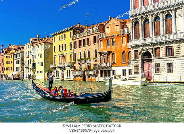 Colorful Grand Canal Gondola Reflections Venice Italy