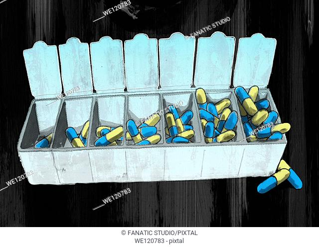 Open capsules container over colored background depicting drug addiction