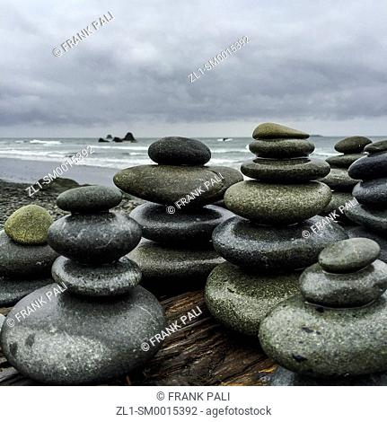 Stacked flat rocks by the Seashore.Ruby Beach, Olympic Peninsula, Washington USA 47°42'40' N 124°24'57' W