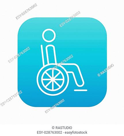 Disabled person sitting in the wheelchair line icon for web, mobile and infographics. Vector white icon on the blue gradient square with rounded corners...