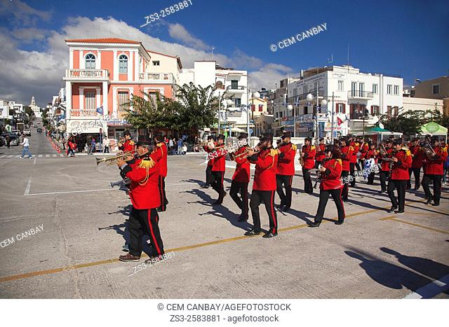 Municipal band with uniform on a celebration day during a desfile, Tinos, Cyclades Islands, Greek Islands, Greece, Europe