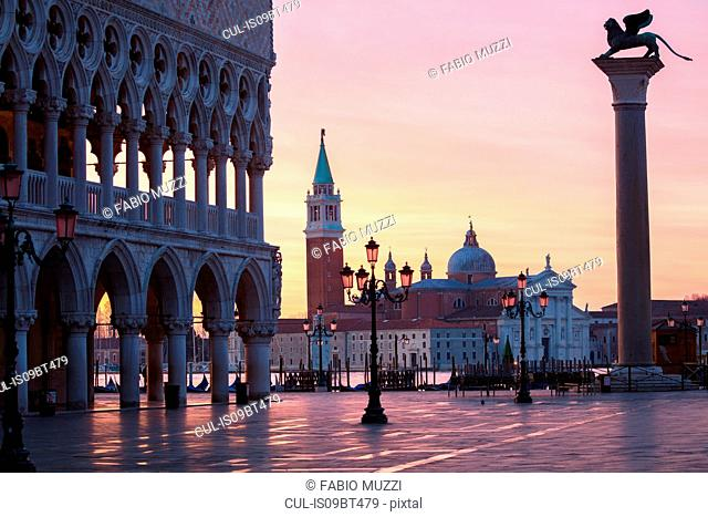 St Marks square and San Giorgio Maggiore church before sunrise, Venice, Veneto, Italy