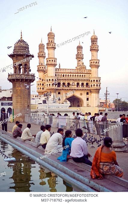 India. Hyderabad.. Mecca Masjid mosque- Charminar