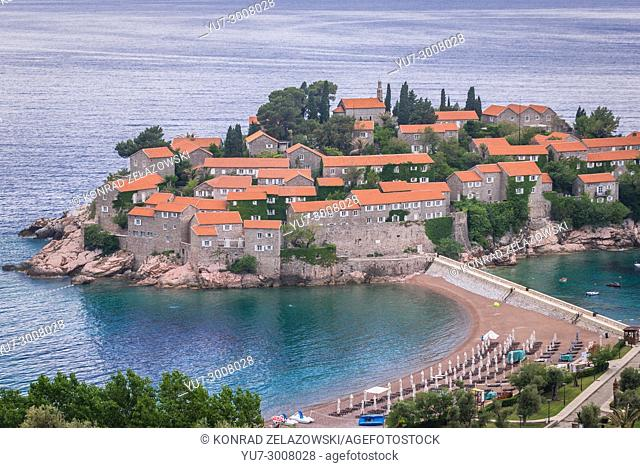 Sveti Stefan islet and five star Aman Sveti Stefan hotel resort on the Adriatic coast of Montenegro