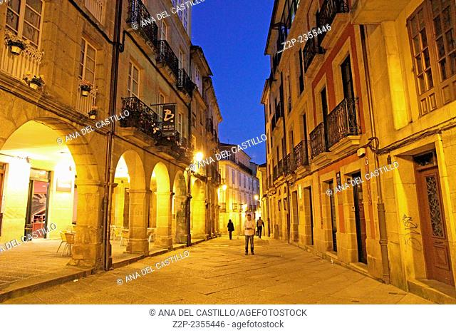 ORENSE SPAIN-MARCH 17: Orense old city at dusk on March 17 2014 in Galicia Spain. The old town of Ourense really is one of Galicia's hidden treasures