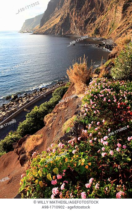 Coastline at Jardim do Mar at the Atlantic Ocean on the island Madeira looking towards Paul do Mar, Portugal, Europe