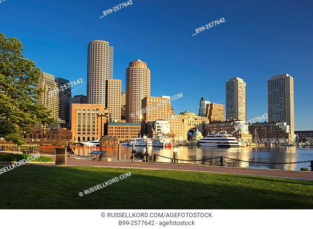 Fan Pier Harborwalk Rowes Wharf Downtown Skyline Inner Harbor South Boston Massachusetts Usa