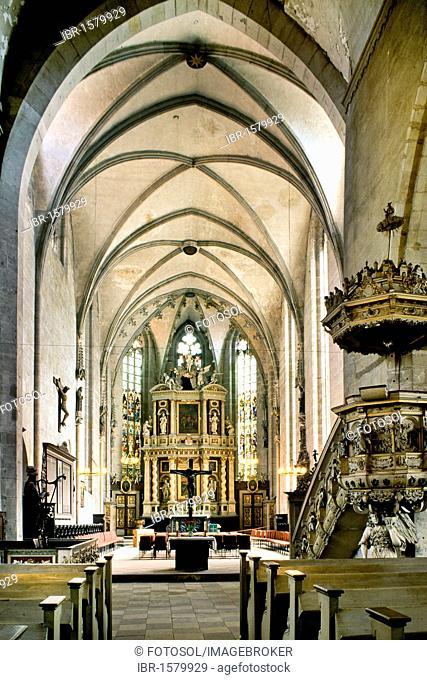 Interior view, market church, Quedlinburg, Harz, Saxony-Anhalt, Germany, Europe