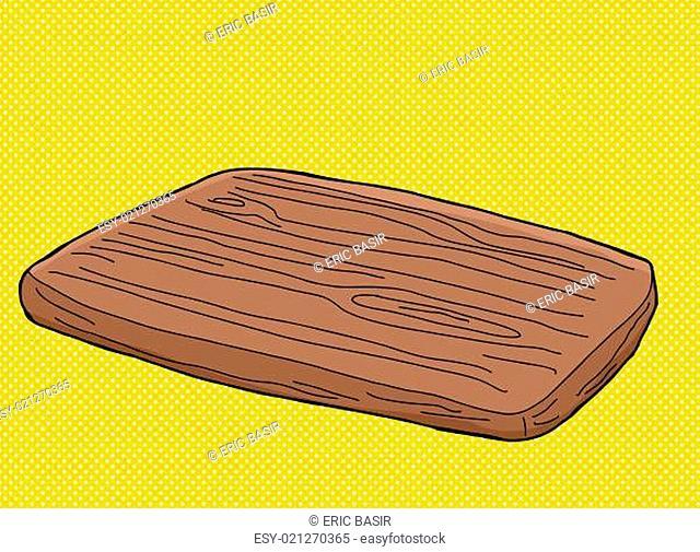 Hand drawn cartoon wooden cutting board over yellow