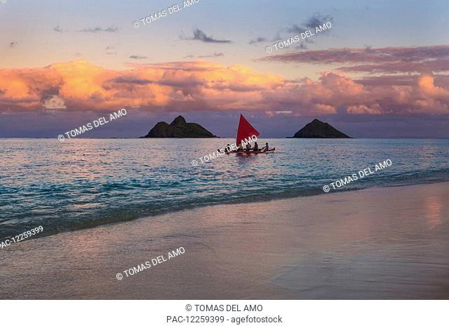 Sailboat at sunset; Kailua, Hawaii, United States of America