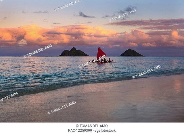Sailboat at sunset; Kailua, Hawaii, United States of America