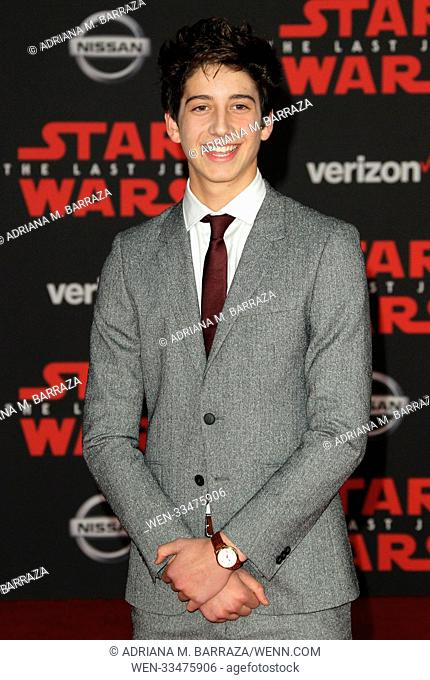 """Star Wars: The Last Jedi"" Premiere held at the Shrine Auditorium in Los Angeles, California. Featuring: Milo Manheim Where: Los Angeles, California"
