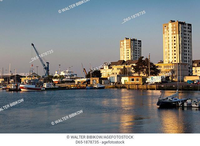 France, Normandy Region, Manche Department, Cherbourg-Octeville, buildings of the Avant Port, sunset