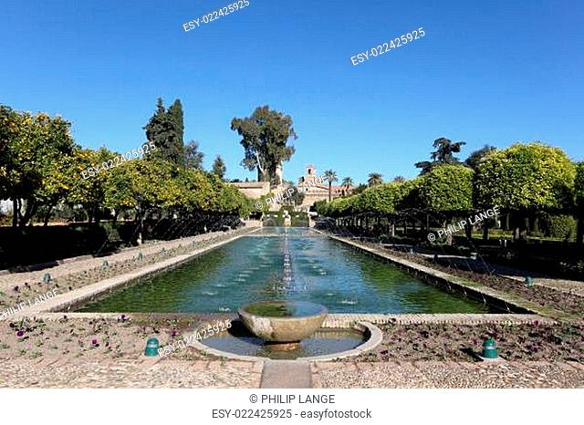 Alcazar palace gardens and fountains in Cordoba, Andalusia Spain
