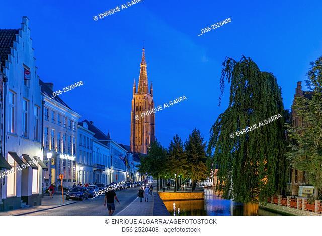 Bruges at night, West Flanders, Belgium