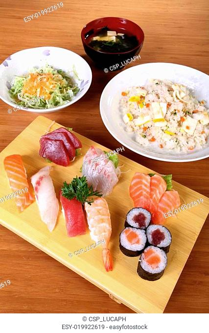 japanese menu with sushi