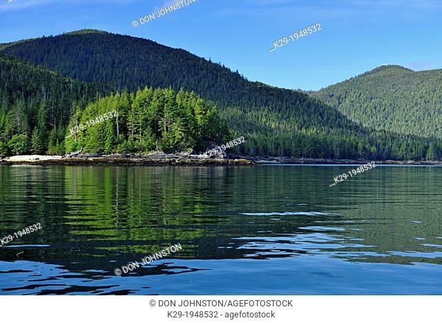 Reflections in Carpenter Bay, Haida Gwaii (Queen Charlotte Islands) Gwaii Haanas NP, British Columbia, Canada