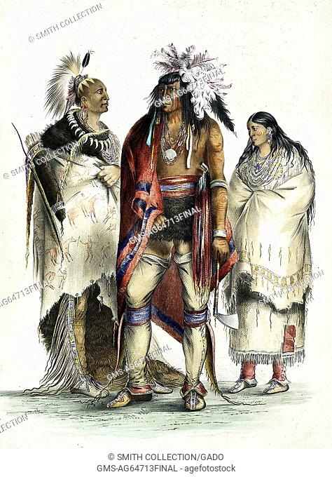 Three Native Americans in traditional dress, illustration, 1888. From the New York Public Library