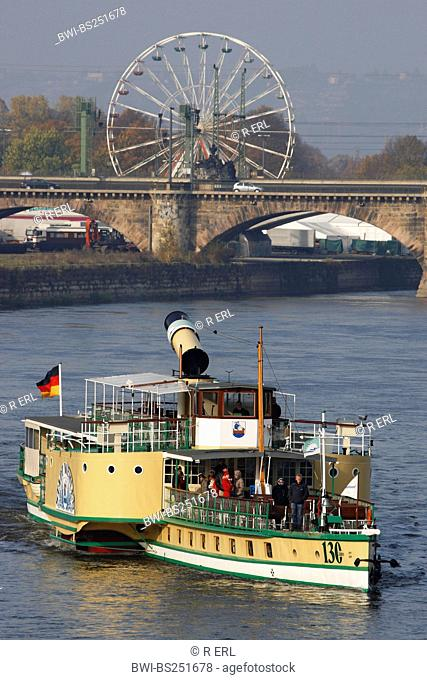 Paddle Steamer on the River Elbe, Germany, Saxony, Dresden