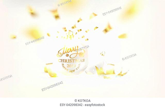 Christmas ball with curves of ribbon confetti over white background. Vector illustration