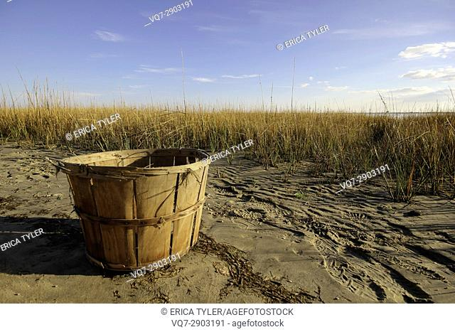 A Basket Awaiting Crabs in the Marshes of Chincoteague, Virginia