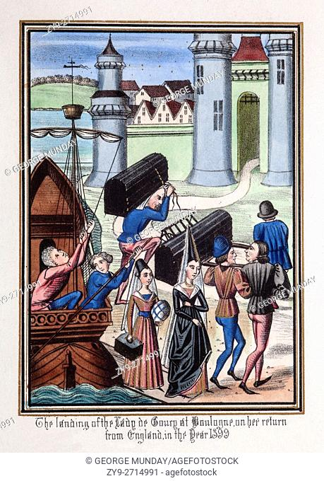 Lady de Courcy landing at Boulogne following her return from England in 1399
