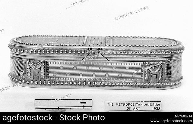 Box. Maker: Nicolas-Jean-Baptiste Choconain-Delauney (master 1775, recorded 1793); Date: 1782-83; Culture: French, Paris; Medium: Varicolored gold; Dimensions:...