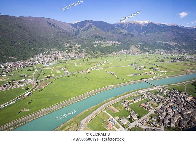 Aerial view of Sirta and Adda River Masino Valley Lower Valtellina Lombardy Italy Europe
