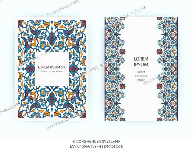 Arabesque floral decoration print, border design template vector. Oriental flowers style pattern. Eastern motif element. Ornamental frame illustration...