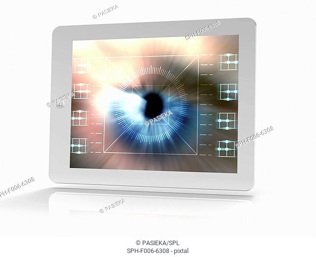 Tablet computer showing conceptual artwork of a biometric eye scan. Biometrics is the identification of individuals by their body parts