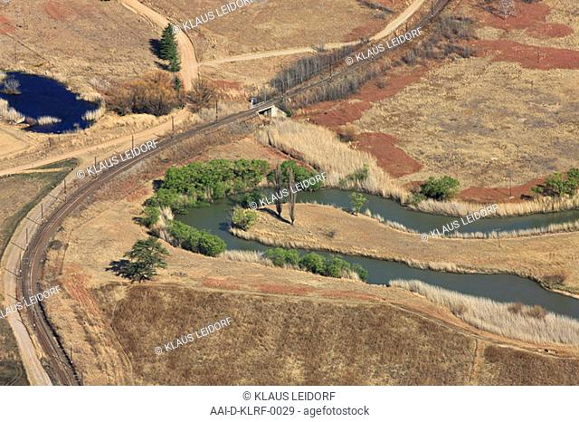 Aerial photograph of a river bend and train track outside Harrismith in the Freestate, South Africa
