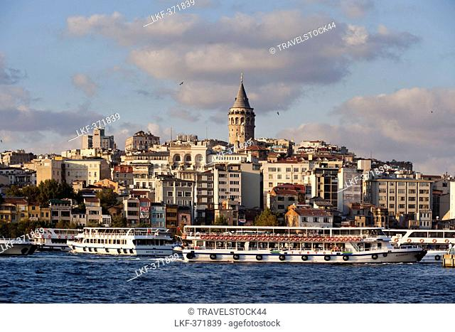 View over Golden Horn onto Galata tower at Beyoglu, Istanbul, Turkey, Europe