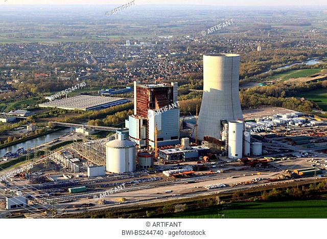 construction of a new coal-fired power plant in Datteln at Dortmund Ems channel and city of Datteln on the left side, Germany, North Rhine-Westphalia, Ruhr Area