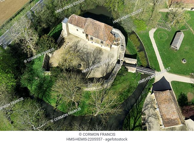 France, Calvados, Crevecoeur en Auge, fortress dated 11th century (aerial view)