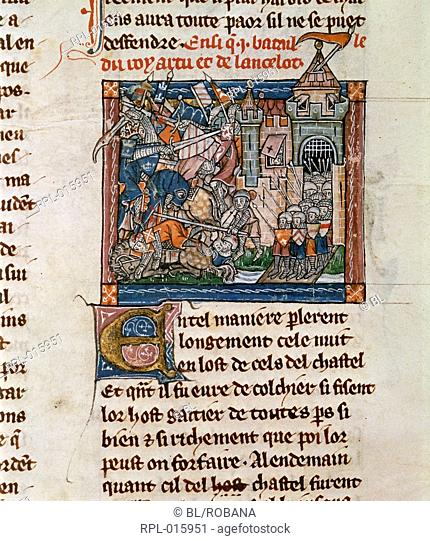 Battle before Joieuse Garde, Miniature and text Battle between the armies of King Arthur and Lancelot before the castle of Joieuse Garde Image taken from La...