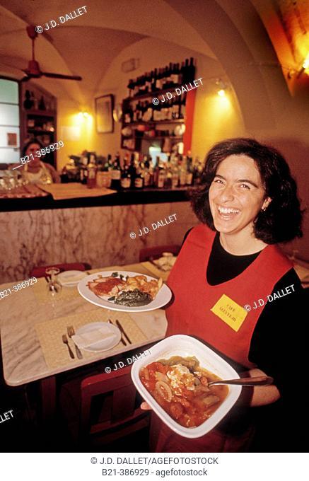 Rita with 'Sopa do tomate' & 'Porco com Molho de Pimenta' at Cafe Alentejo, at Evora. gastronomy. Portugal