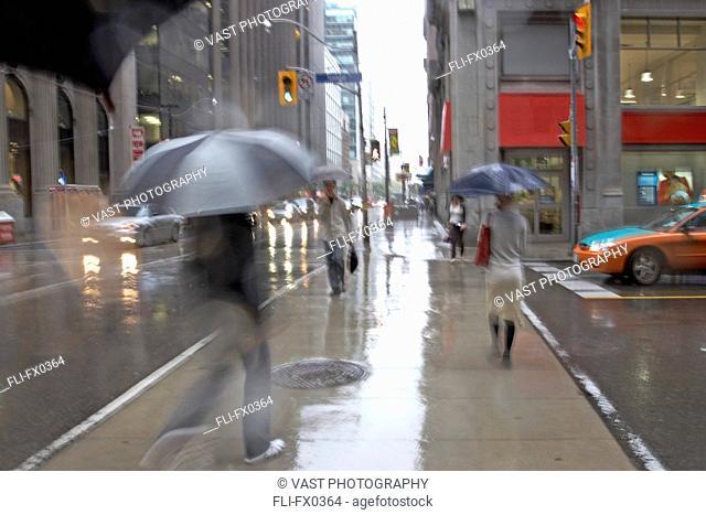 Rainy Day at Yonge and King St, Toronto, Ontario