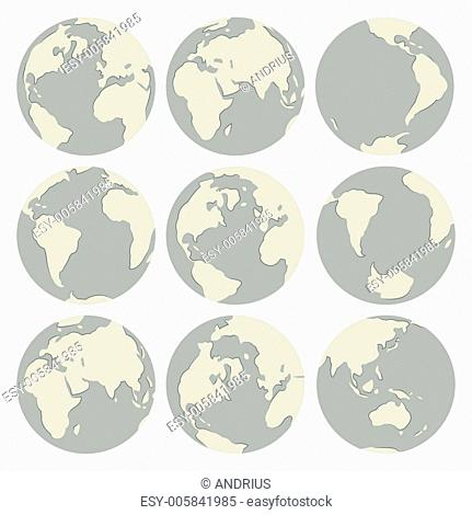 Set of vector globes