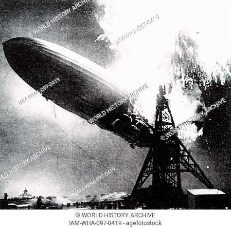 Photograph taken during the Hindenburg disaster. A German passenger airship LZ 129 Hindenburg caught fire and was destroyed whilst attempting to dock at the...