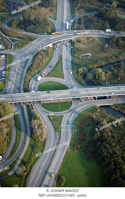 Aerial view of road intersection