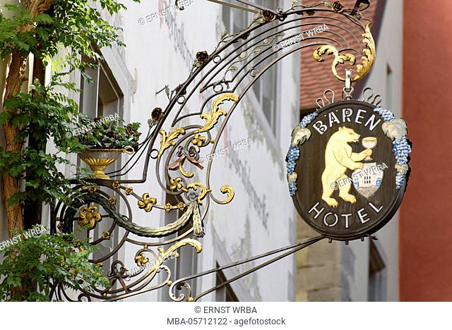 Sign Bear hotel, upper town of Meersburg, Lake of Constance, Baden-Wurttemberg, Germany