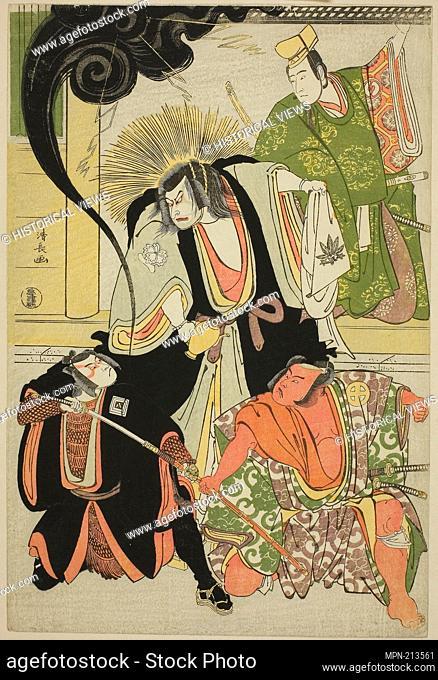 The Actors Nakayama Kojuro VI (Nakamura Nakazo I) as Hatchotsubute no Kiheiji, Otani Hiroji III as Miura Arajiro, Ichikawa Yaozo III as Akugenta Yoshihira