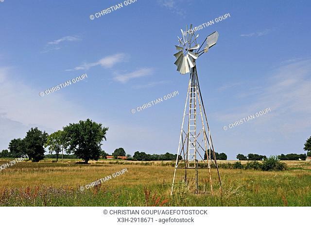 windpump, Cher department, Centre-Val-de-Loire region, France, Europe
